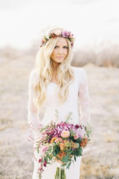 Wholesale Bohemian Long Dresses Sale - Hot Sale Country Style Bohemian Hippie Lace Wedding Dresses 2016 V Neck Long Sleeves Plus Size Custom Made Sheer Lace Boho Bridal Gowns