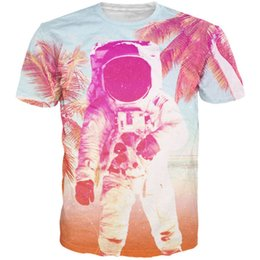 Wholesale Colorful Shirt Women - New Fashion Colorful T-Shirts Palm trees 3d t shirt tees Funny Astronaut in Beach graphics shirts Women Men Casual tee shirts