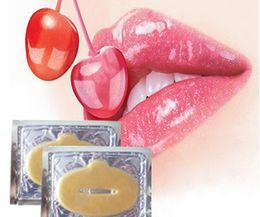 Wholesale 24k Gold Powder - 2000x New Crystal 24K Gold Powder Gel Collagen Lip Mask Moisturizing Hydrating Repair Remove Lines Blemishes Fuller Lip Care