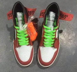 Wholesale X Cork - 2017 New Air Retro 1 red men Basketball Shoes OFF WHITE x black top Quality Sports Box wholesale trainers size 7-13