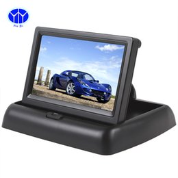Wholesale Car Reverse Parking Camera Screen - Folding 4.3 Inch TFT Color LCD Screen Parking Sensor Video Monitor Car TV Rearview for Reverse Camera
