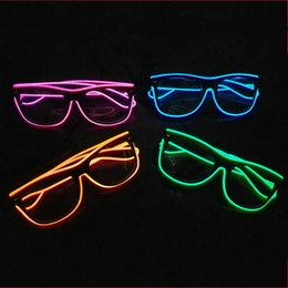 Wholesale plastic stock bar - Fashion Plastic PC Eyeglass Luminous EL Wire LED Light Up Spectacles Reusable Colors Glasses For Bar Party Costume Decorations 18yy BZ