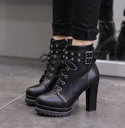 Wholesale Motorcycle Martin Platform Snow Boots - Sexy Brown Black PU Leather Buckles High Platform Chunky Heels Lace Up Martin Boots Fashion Autumn Boots For Women 2017 Size 34 To 39