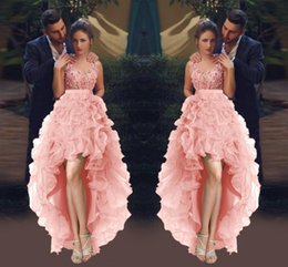 Wholesale Floral High Low Prom Dresses - 3D Applique High Low Prom Dresses 2017 Spring Organza Ruffles Pink Evening Gowns Said Mhamad Floral Formal Party Homecoming Dresses