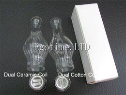 Wholesale Dry Tank For Ego Vape - Glass globe Atomizer pyrex glass Dual ceramic Cotton coils stripe style Wax Dry Herb Vaporizer pen vape glass tanks for ego 510 batteries