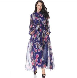 Wholesale Long Sleeved Chiffon Maxi Dress - Nice Spring New Chiffon Casual Dresses for Womens Fashion Print Floral Stand Collar Long-sleeved With Pocket Maxi Dress Plus Size M-6XL