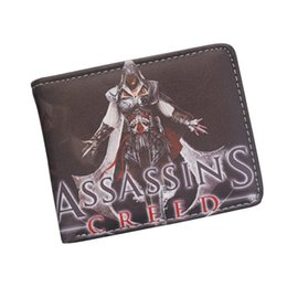 Wholesale Cartoon Cool Boy - Cool Game Wallets Wholesale Assassin's Creed Master Assassin Altair Wallet For Young Boy Girl Student Leather Short Money Bag Wallet Purses