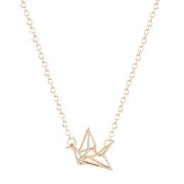 Wholesale Crane Wedding - 10pcs lot Origami Crane Necklace Tiny Origami Crane necklace wedding bridal jewelry Necklace women