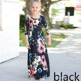 Wholesale Blue Tunic - Long Dress Fashion Trend Bohemian Dress for Girls Beach Tunic Floral Autumn Maxi Dresses Kids Party Princess Dresses