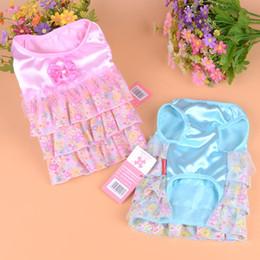 Wholesale Dog Veil Dress - 2016 50Pcs Lot Spring Summer Elegant Cloth Pet Dog Dress Floral Pattern Pompon Veil Pet Skirt Dog Clothes Pink Blue Color Free Shipping