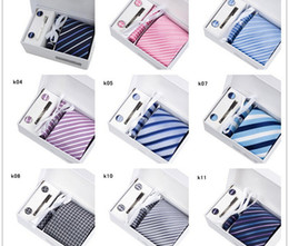 Wholesale Silk Wholesale Men Tie Sets - 50 Colors Quality Mens Neck Tie Set Wedding Ties & Tie Clips & Cufflinks & Hanky & Gift Box Fashion Business Suit Tie MOQ 6 Sets