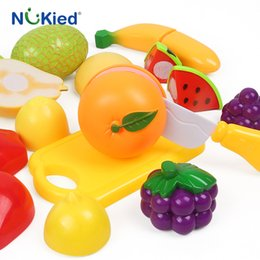 Wholesale Baskets For Toys - NUKied 14PC Cutting Fruit Food Pretend Play Toy For Children Kid Educational kid's Kitchen Educational Toy With Basket