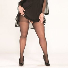 Wholesale Sheer Black Pantyhose - Wholesale-10D CROTCHLESS SHEER Pantyhose, women's plus size high waist lengthen pantyhose stockings,tattoo stockings erotic lingerie