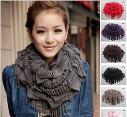 Wholesale Womens Long Winter Scarf - Womens Winter Warm Knitted Layered Fringe Tassel Neck Circle Shawl Snood Scarf Cowl Girl Solid Long Soft Infinity Scarves Wraps A023