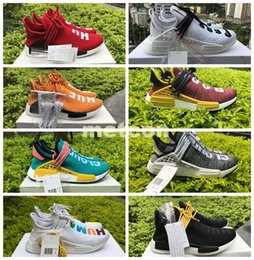 Wholesale Real Families - Pharrell's NMD Human Race Runner Shoes Mens Women NMDs Real Boost Hu PW Birthday Fear of God Shock Burgundy Friends and Family US5-13