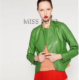 Wholesale Green Leather Sleeve Jacket - 2017 New Autumn Fashion Street Women's Washed PU Leather Jacket Zipper Apple Green Color Short Ladies Basic Jackets Top Quality