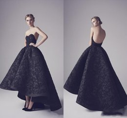 Wholesale Black Swan Blue - Ashi Studio 2017 Design Black Evening Dresses Strapless Backless Appliques Sequins Prom Gowns Elegant Black Swan Foraml Evening Party Gowns