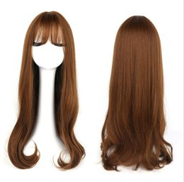 Wholesale Long Layered Brown Wig - 1pc colored synthetic lace front wigs Long Layered Wig Brown with Blonde Highlights From Korea Free shipping