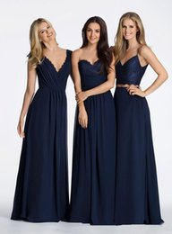 Wholesale Paige Dress - Vintage Navy Blue A Line Chiffon Long Bridesmaid Dresses Cheap 2017 Kanalisi Paige Sweetheart Two Pieces Bridesmaids Prom Dresses