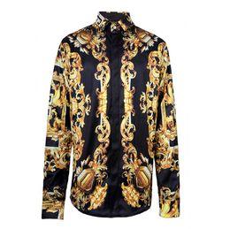 Wholesale Microfiber High Collar Shirts - 2016 2017 New Arrival Brand Royal Style Shirts Fahion Shows Fabric Silk Shirts Men's Long Sleeve High Quality Print Shirts
