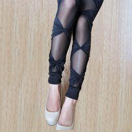 Wholesale Super Slimming Leggings - Plus Size Bow Lace Leggings Super Stretch Bandage Skinny Pants Slimming Mesh Leggings for Women Female Sexy Elastic Leggins fish net skinny