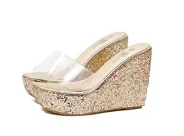 Wholesale New Womens Shoes Wedge Heel - Designer Korean New Arrival Summer PVC Open Toe Flip Flop Glitter Rhinestone High Heel Wedge Jelly Womens Sandals Slip On Shoes
