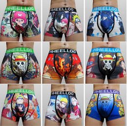 Wholesale Wholesale Japanese Underwear - 5pcs lot High Quality Japanese Anime Naruto Sexy Mens Micro Fiber Cotton underwear cuecas Boxers Fashion Men's shorts Boxer