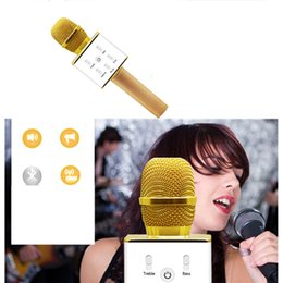 Wholesale Handheld Cell - Q7 Handheld Microphone Bluetooth Wireless KTV With Speaker Mic Microfono Handheld For iphone Smartphone Portable Karaoke Player 0802218