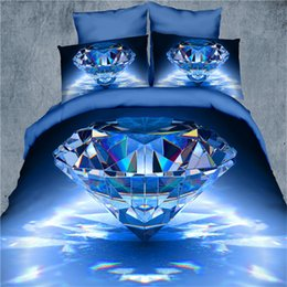 Wholesale Light Pink Comforter Set Queen - 3D bedding set 4pcs Blue Diamond quilt comforterduvet cover stereoscopic tiger bed sets bedspread bed sheet bed linen queen size