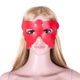 Wholesale Master Sm - Red Leather Studed Butterfly Mask Master Dom SM Queen Flogger Outfit BDSM Bondage Fetish Sex Restraint Product