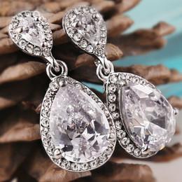 Wholesale Sterling Earring Charms - white gold Austrian Crystal charm Earrings Water Drop Shape Stud Earrings For Women Fashion Earrings Jewelry For Wedding