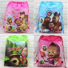 Wholesale Mixed Bags Book - Wholesale 36pcs Mixed Baby Girls Masha & The Bear Nonwoven Drawstring School Bags Children's Kindergarten Nonwoven Backpacks Book Bag