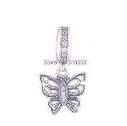 Wholesale vintage sterling charm bracelets - Vintage Butterfly Charm Pendants Authentic 925 Sterling-Silver-Jewelry Pave CZ Charms Beads DIY Brand Logo Bracelets Accessories HB486