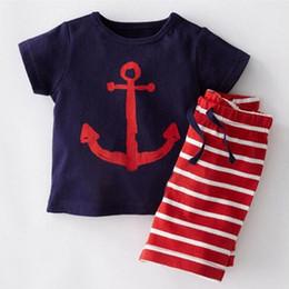 meninos listrado camiseta Desconto Novo bebê menino roupas de malha de algodão âncora meninos Tshirts calças 2 pcs set padrão listrado verão meninos roupas