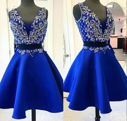 Wholesale Short Cocktail Dresses Sale - 2018 Hot Sale Two Pieces Royal Blue Homecoming Dresses V Neck Beaded Crystal Prom Dress Mini Cocktail Party Gowns