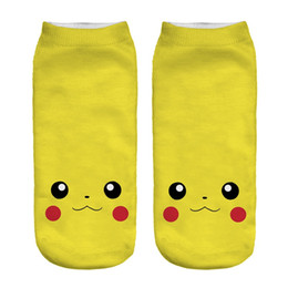 Wholesale Digital Slippers - 2017 New Poke Pocket Socks Fashion Monster Ankle Socks Poke Pikachu Sock Slippers Poke Ball Boat Socks 3D Print Digital Socks Poke Hosiery