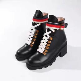 Wholesale Short Rainboots Women - sale! free ship! u754 black genuine leather lace up boyish short boots golden buckles