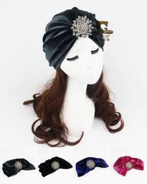 Wholesale Flapper Style - Women Turban Headband Indian Style Velvet Flapper jeweled brooch Stretch Yoga Hat Ear Warmer Hat free shipping
