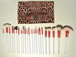 Wholesale Makeup Brushes Set Leather - 24Pcs Brand Makeup Brushes Set High Quality Pro Blush Foundation Powder Brush Kit Cosmetic Beauty Tools With Leopard PU Leather Bag Case