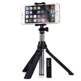 Wholesale Universal Mirrors - Tripod selfie stick with zoom mirror built-in remote shutter button extendable universal multi function bluetooth wireless selfie