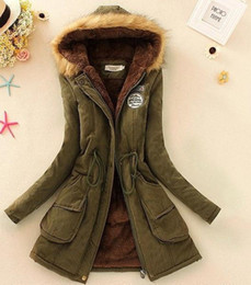 Wholesale Winter Coats For Plus Size - Fashion Winter Cotton Coat for Women Slim Outwear Wadded Jacket Thick Hooded Cotton Wadded Warm Parka Plus Size 12 colors In Stock