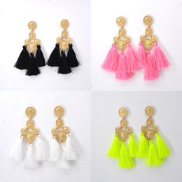 Wholesale Earrings Antique - Bohemian Head Coin Round Penddant Long Tassel Dangle Earrings Antique Fashion Jewelry Elegant Gold Alloy Coin Dangle Drop Earrings For Women