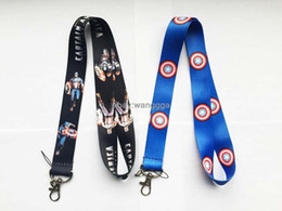 Wholesale Id America - DHL Free Shipping! 300PCS The Avengers Captain America Steve Different LANYARD phone chain KEYS ID Neck straps New