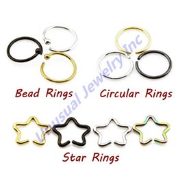 Wholesale Cheap Wholesale Piercing Jewelry - 120pcs lot Mixed Color Hinged Segment Lip Septum Ring Ear Cartilage Tragus Nose Piercing Stainless steel Jewelry 16g Cheap