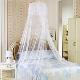 Wholesale Double Hung - Girls Queen Mosquito Net Comforters Sets Curtain Bed Net Hanging Round Princess Mosquitoes Portable Double Beddings 4 Color 65*260*1260Cm