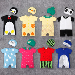 Wholesale Strawberry Baby Romper Cotton - 2016 Baby clothing Romper +hat infant jumpsuits newborn one-piece short sleeve watermelon strawberry panda penguin pineapple