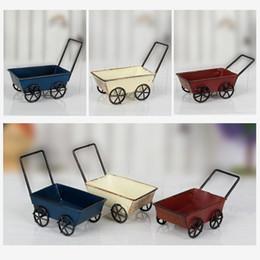 Wholesale Iron Cart - Vintage Wrought Iron Trolleys Mini Handmade Carts Miniature Fairy Garden Craft Home Decoration Storage Toys ZA4365