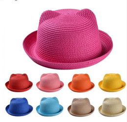 Wholesale Wholesale Hat Cat Ears - Baby Straw Hat Summer Kids adult Cat Ear Decoration Lovely Beach Cap Sun Hat Solid Beach Hats 17 color KKA3091
