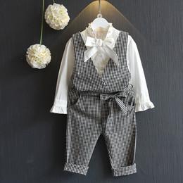 Wholesale Girls Cotton Belt - Autumn kids clothes girl long sleeve shirt+pant set 2 pieces children bow belt clothes suit 5 s l
