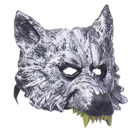 Wholesale Wolf Half Face Mask - Wholesale 20pcs Halloween Wolf head Latex Mask Creepy Upper Half Face Animal Head Mask Theater Costumes Role Playing
